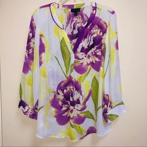 Worthington 3X career blouse purple floral print